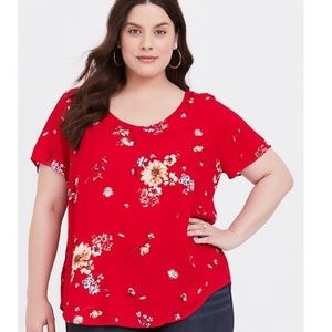 Torrid Red Floral Gauze Button Back Blouse Top 2X